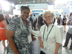 GSMA's Ronda Zelezny-Green and Ambient Insight Tyson Greer at Mobile Asia Expo